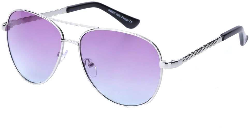 Очки солнцезащитные женские Fabretti, цвет: серебристый, сиреневый. J172383-3GINT-06501Женские очки-авиаторы от итальянского бренда Fabretti – это изысканный аксессуар, который должен быть у каждой модницы в этом сезоне. Стильная форма, розовые линзы и аккуратные дужки с изящным орнаментом с легкостью подчеркнут ваш яркий вкус и дополнят любой современный образ. Градиентное покрытие линз придаст загадочность и утонченности вашему взгляду.