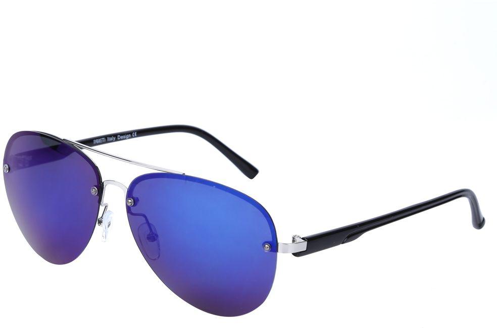 Очки солнцезащитные женские Fabretti, цвет: черный, синий. J172460-3PZBM8434-58AEЖенские очки-авиаторы от итальянского бренда Fabretti – это изысканный аксессуар, который должен быть у каждой модницы в этом сезоне. Дизайнерская форма прекрасно подчеркнет ваши скулы, а серебряная фурнитура и стильные синие линзы придадут вашему образу яркости и экстравагантности. Поляризационное покрытие, высокая степень защиты от солнечных лучей и надежные крепления помогут приковывать взгляды окружающих протяжении нескольких модных сезонов.