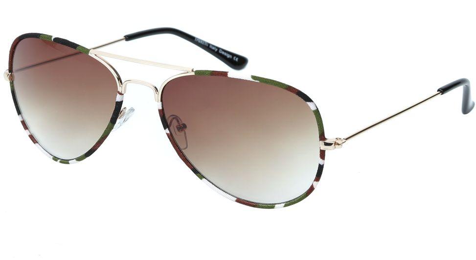 Очки солнцезащитные женские Fabretti, цвет: золотистый, зеленый, коричневый. J172586-3GBM8434-58AEЖенские очки-авиаторы от итальянского бренда Fabretti – это изысканный аксессуар, который должен быть у каждой модницы в этом сезоне. Эксклюзивная отделка оправы, создающая эффект тканевого покрытия, придаст вашему образу неповторимую элегантность и изысканность. Кофейный цвет линз и черные дужки завершают дизайн, превращая модель в изумительный аксессуар, который дополнит любой современный образ. Градиентное покрытие, высокая степень защиты от солнечных лучей и надежные крепления помогут приковывать взгляды окружающих протяжении нескольких модных сезонов.Аксессуар очень удобен для вождения, а также незаменим на отдыхе.