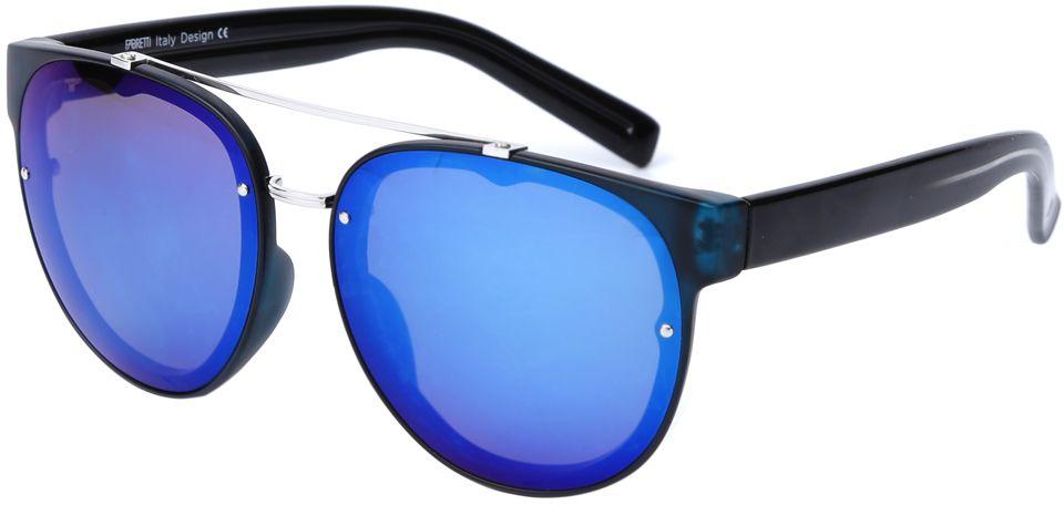 Очки солнцезащитные женские Fabretti, цвет: черный, серебристый, синий. J173388-2PZBM8434-58AEЭлегантные женские очки от итальянского бренда Fabretti соединили в себе элементы «авиатора» и круглой оправы, которая прекрасно подойдет ко всем типам лица. Наши дизайнеры черпали свое вдохновение в модных показах 60-х годов и создали уникальную модель, которая дополнит как классический, так и современный образ. Элегантное сочетание серебряного цвета оправы и синего цвета линз придаст любому образу нотки итальянского шика, а зеркальные линзы подчеркнут вашу яркость и экстравагантность. Аоляризационное покрытие, высокая степень защиты от солнечных лучей и надежное крепление дужек, - все это превращает модель в уникальный аксессуар, который будет украшать вас на протяжении нескольких модных сезонов.