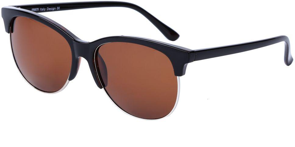 Очки солнцезащитные женские Fabretti, цвет: черный, коричневый. J173607-1PINT-06501Стильные женские очки от итальянского бренда Fabretti выполнены в ультрамодном стиле клабмастер, который прекрасно подойдет ко всем типам лица. Наши дизайнеры черпали свое вдохновение в модных показах 60-х годов, и создали уникальную модель, которая дополнит любой современный образ. Элегантное сочетание коричневызз линз и темно-кофейной оправы придаст любому образу нотки экстравагантности и элегантности. Высокая степень защиты от солнечных лучей и надежное крепление дужек, - все это превращает модель в уникальный аксессуар, который будет украшать вас на протяжении нескольких модных сезонов.