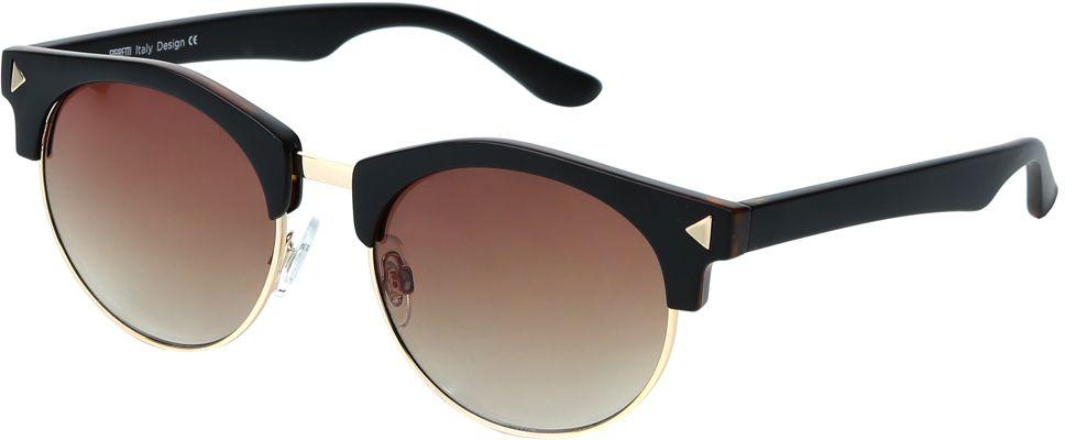 Очки солнцезащитные женские Fabretti, цвет: коричневый, золотистый. J173734-3GBM8434-58AEМодные женские очки от итальянского бренда Fabretti выполнены в ретро-стиле «панто». Наши дизайнеры черпали свое вдохновение в модных показах 50-х и 60-х годов. Элегантная форма с легкостью подчеркнет ваши скулы, а изысканный темно-кофейный оттенок придаст любому образу нотки женственность и элегантности. Градиентное покрытие линз, высокая степень защиты от солнечных лучей и надежное крепление дужек, - все это превращает модель в уникальный аксессуар, который будет украшать вас на протяжении нескольких модных сезонов.