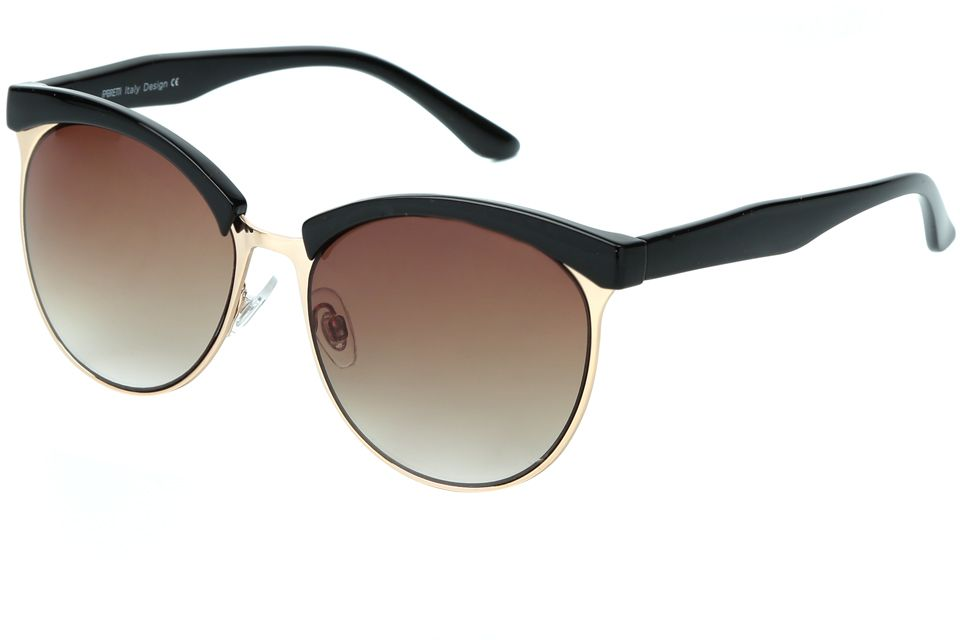 Очки солнцезащитные женские Fabretti, цвет: черный, золотой, коричневый. J173735-1GINT-06501Модные женские очки от итальянского бренда Fabretti выполнены в ретро-стиле, который прекрасно подойдет ко всем типам лица и прекрасно подчеркнет ваши скулы. Наши дизайнеры черпали свое вдохновение в модных показах 60-х годов и создали уникальную модель, которая дополнит как классический, так и романтический образ. Элегантное сочетание черного и золотого цвета оправы придаст любому образу нотки итальянского шика, а коричневые градиентные линзы подчеркнут вашу элегантность. Высокая степень защиты от солнечных лучей и надежное крепление дужек, - все это превращает модель в уникальный аксессуар, который будет украшать вас на протяжении нескольких модных сезонов.