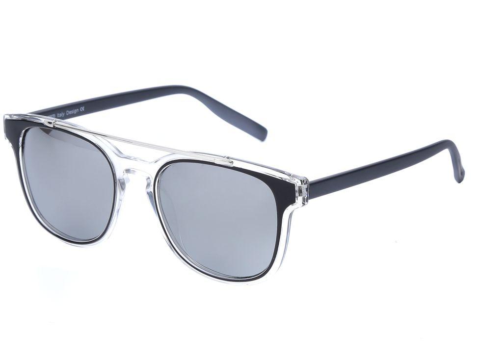 Очки солнцезащитные женские Fabretti, цвет: темно-серый, прозрачный. J173898-1PZINT-06501Эксклюзивные женские очки от итальянского бренда Fabretti соединили в себе элементы ретро-стиля и оправы «авиатор», который прекрасно подойдет ко всем типам лица. Наши дизайнеры черпали свое вдохновение в модных показах 60-х годов и создали уникальную модель, которая дополнит как классический, так и романтический образ. Элегантное сочетание черного, серого и серебряного цвета оправы придаст любому образу нотки итальянского шика, а зеркальные линзы подчеркнут вашу яркость и экстравагантность. Высокая степень защиты от солнечных лучей и надежное крепление дужек, - все это превращает модель в уникальный аксессуар, который будет украшать вас на протяжении нескольких модных сезонов.