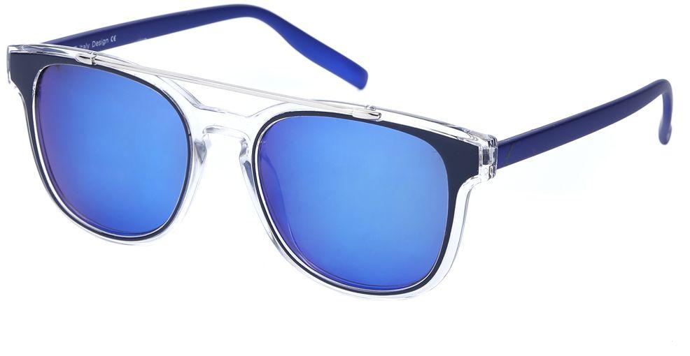 Очки солнцезащитные женские Fabretti, цвет: темно-синий, прозрачный. J173898-2PZBM8434-58AEЭксклюзивные женские очки от итальянского бренда Fabretti соединили в себе элементы ретро-стиля и оправы «авиатор», который прекрасно подойдет ко всем типам лица. Наши дизайнеры черпали свое вдохновение в модных показах 60-х годов и создали уникальную модель, которая дополнит как классический, так и романтический образ. Элегантное сочетание черного, синего и серебряного цвета оправы придаст любому образу нотки итальянского шика, а синие зеркальные линзы подчеркнут вашу яркость и экстравагантность. Высокая степень защиты от солнечных лучей и надежное крепление дужек, - все это превращает модель в уникальный аксессуар, который будет украшать вас на протяжении нескольких модных сезонов.