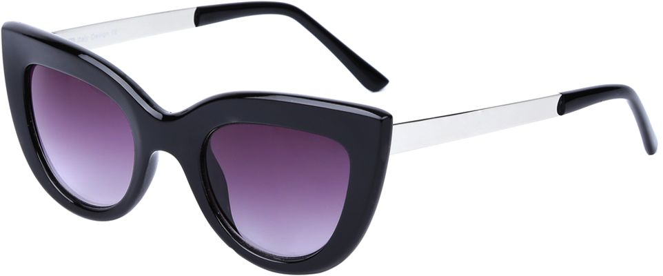 Очки солнцезащитные женские Fabretti, цвет: черный, пурпурный. J173961-1GINT-06501Яркие женские очки от итальянского бренда Fabretti выполнены в стильной форме кошачьего глаза. Классический черный цвет и дужки в стальном оттенке призваны добавить в ваш образ нотку настоящего итальянского шика. Дизайнерская широкая оправа воссоздает элегантность 50-х годов, поэтому аксессуар понравиться всем любительницам ретро-стиля. Градиентное покрытие линз, высокая степень защиты от солнечных лучей и надежное крепление дужек, - все это превращает модель в прочные и стильные очки, которые будут украшать вас на протяжении нескольких модных сезонов.