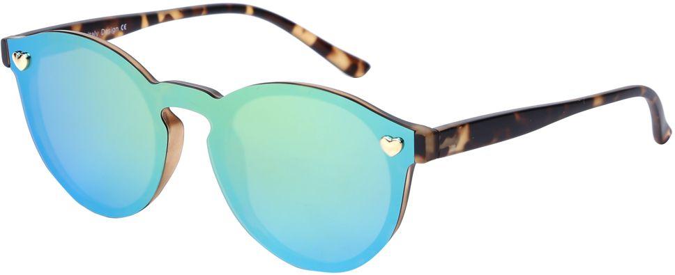 Очки солнцезащитные женские Fabretti, цвет: коричневый, голубой, зеленый. J174406-1PZINT-06501Яркие женские очки от итальянского бренда Fabretti выполнены в ультрамодной форме панто, которая воссоздает элегантность и утонченность 60-х годов. Отсутствие оправы, насыщенный синий цвет и зеркальные линзы добавять в ваш образ современный шик. Поляризационное покрытие, фурнитура в виде миниатюрных сердец, высокая степень защиты от солнечных лучей, - все это превращает модель в прочные и стильные очки, которые будут украшать вас и привлекать внимание окружающих на протяжении нескольких модных сезонов.