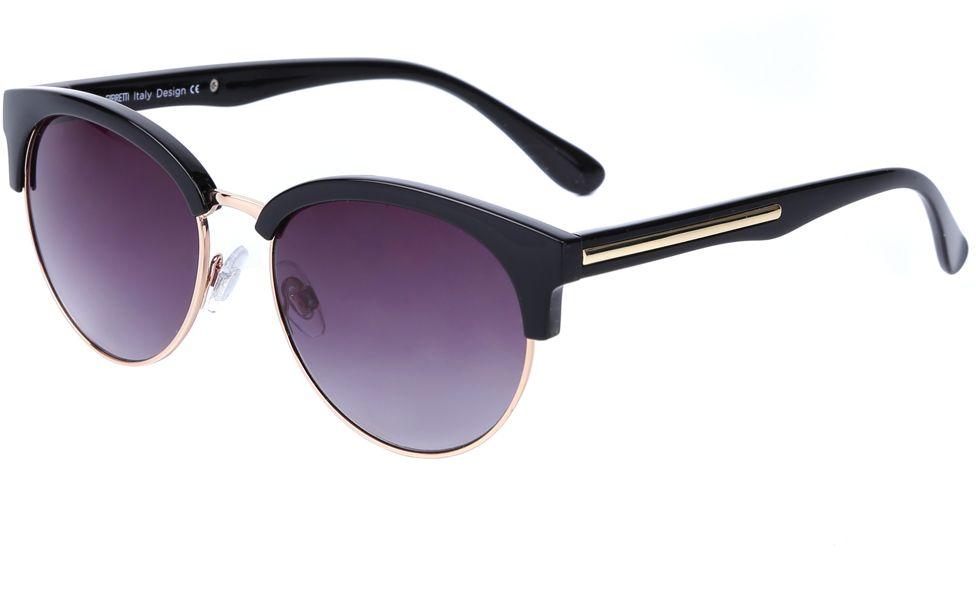 Очки солнцезащитные женские Fabretti, цвет: черный, золотистый, пурпурный. J174472-1GBM8434-58AEУникальные женские очки от итальянского бренда Fabretti выполнены в ретро-стиле, который прекрасно подойдет ко всем типам лица. Наши дизайнеры черпали свое вдохновение в модных показах 60-х годов и создали уникальную модель, которая дополнит любой современный образ. Элегантное сочетание черного и золотого цвета оправы придаст любому образу нотки элегантности и итальянского шика. Градиентное покрытие линз, высокая степень защиты от солнечных лучей и надежное крепление дужек, - все это превращает модель в уникальный аксессуар, который будет украшать вас на протяжении нескольких модных сезонов.
