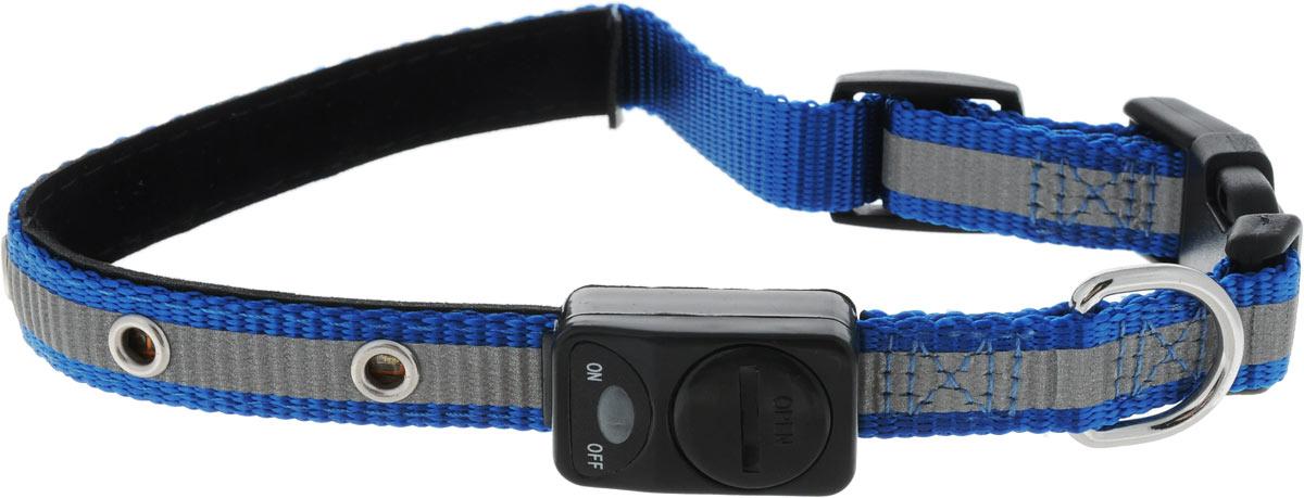 Ошейник для собак Каскад Мигающий, со светоотражающей лентой, цвет: синий, ширина 15 мм, длина 30-40 см0120710Ошейник для собак Каскад Мигающий изготовлен из прочного нейлона. Светоотражающая полоса и светодиоды на ошейнике обеспечивают безопасность вашего питомца в темное время суток. На ошейнике расположен дисплей, благодаря которому можно включить и выключить светодиоды. Дисплей работает от одной батарейки 3V (входит в комплект). Размер ошейника регулируется при помощи пластиковой пряжки. Застегивается изделие на застежку-фастекс. Изделие отличается высоким качеством, удобством и универсальностью.Длина ошейника: 30-40 см.Ширина ошейника: 1,5 см.