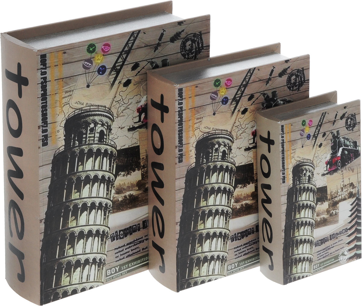 Набор шкатулок для рукоделия Bestex, 3 шт. ZW001252RG-D31SНабор Bestex состоит из трех шкатулок, стилизованных под книги. Шкатулки, изготовленные из МДФ, оформлены оригинальными изображениями. Внутри шкатулки обтянуты тканью. Закрываются шкатулки на магниты. Изящные шкатулки с ярким дизайном предназначены для хранения мелочей, принадлежностей для шитья и творчества и других аксессуаров. Такой набор красиво оформит интерьер комнаты и поможет хранить ваши вещи в порядке, а также станет отличным подарком. Размер маленькой шкатулки: 13 х 22,5 х 5 см.Размер средней шкатулки: 20 х 28,5 х 6,8 см.Размер большой шкатулки: 26 х 34 х 8,8 см.