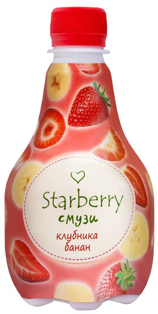Starberry смузи клубника, банан, 0,375 л0120710Смузи на основе 100% натурального сока понравится любителям необычных вкусовых сочетаний. Ощутить сладкую тропическую свежесть и притягательную силу сочных фруктов – легко. Просто попробуйте Starberry смузи и испытайте истинное удовольствие!