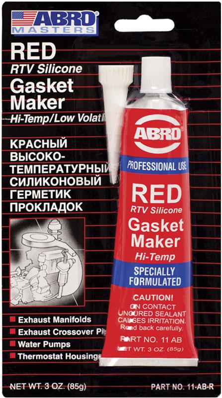 Герметик прокладок Abro Masters, цвет: красный, 85 гАС-9301Многоцелевые герметики прокладок Blue, Red, Clear, Black предназначены для ремонта или замены почти всех встречающихся в автомобиле прокладок.Герметик ABRO принимает любую форму и успешно выдерживает сжатие, растяжение и сдвиг. Совершенно не разрушается под действием автомобильных масел, воды и антифриза. Также герметик ABRO обладает высокой стойкостью к бензину и тормозной жидкости. Более мягкий герметик прокладок Blue (синий), также как Clear и Black (прозрачный, черный), предназначен для применения при температурах до 260°С, в то время как герметик прокладок Red (красного цвета) разработан для более высоких температур до 343°С.