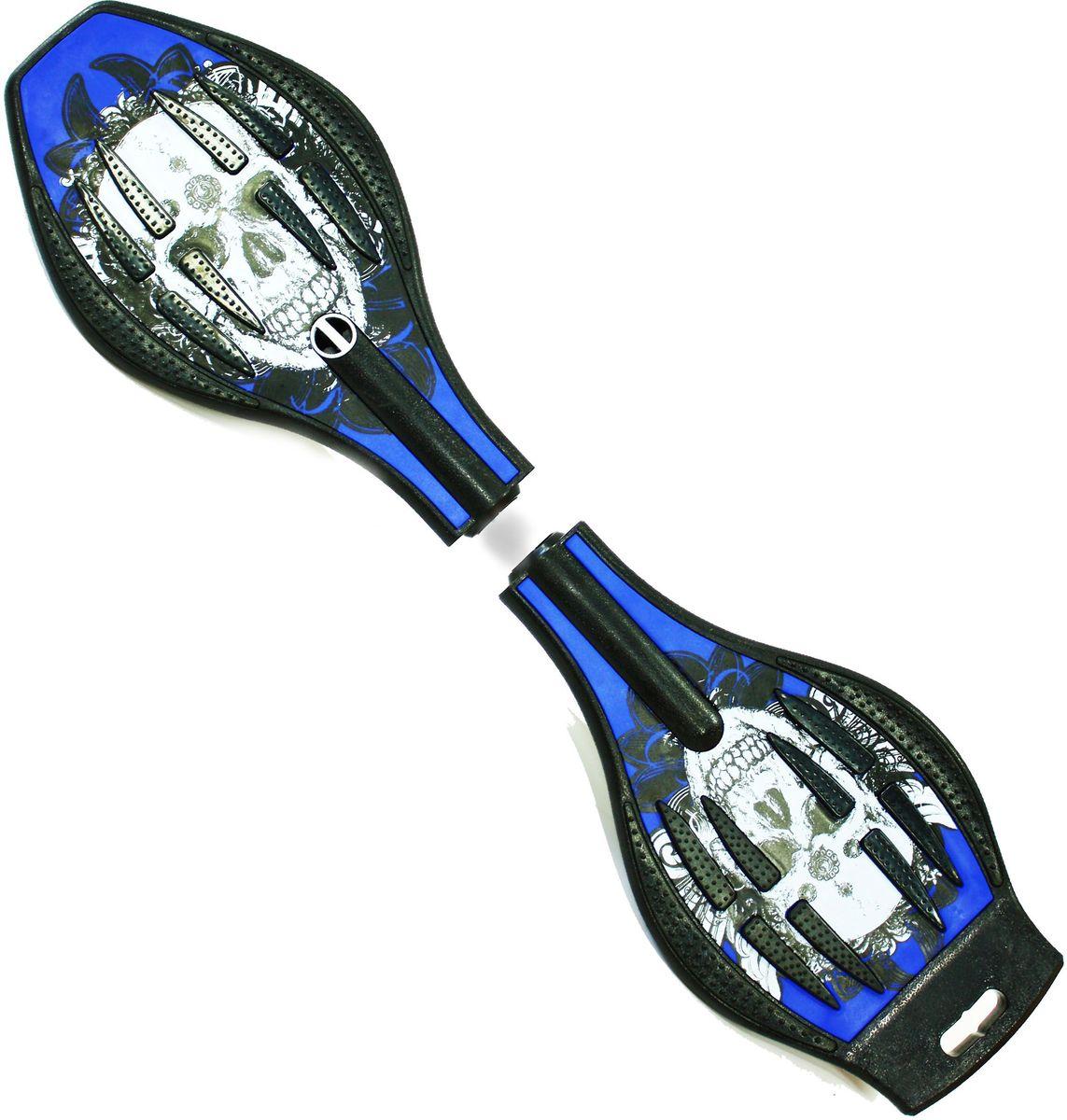 Роллерсерф Dragon Board Calavera, цвет: синий, черныйво2228Роллерсерф Dragon Board Calavera - это уникальный скейтборд на двух колесах. Полиуретановые колеса на высокоскоростных подшипниках позволяют быстро разогнаться и катиться долгое время без остановок. Подшипники крутятся легко и без усилий. Колеса скейтборда выполнены из прочного полиуретана и вращаются на 360°. Легкая и прочная пластиковая платформа со специальным противоскользящим покрытием состоит из двух частей, прочно соединенных стальной торсионной пружиной. Роллерсерф предусмотрен для пользователей в возрасте от 5 лет и рассчитан на вес до 70 кг. Быстрый и маневренный роллерсерф Waveboard - это желаемый подарок для каждого ребенка.