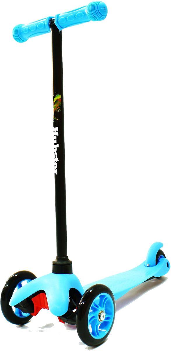Самокат детский Hubster Mini, трехколесный, цвет: голубой, черный2245Яркий и веселый самокат Hubster Mini создан для активных развлечений на свежем воздухе. Он очень полезен для развития детского организма, благодаря ему малыш становится более крепким, ловким и выносливым.Самокат прост в использовании, наклоняя рулевую стойку в ту или иную сторону, колеса автоматически поворачиваются в ту же сторону, поэтому ребенок освоит самокат достаточно быстро.Широкая платформа выполнена из легкого и прочного пластика, имеет рифленую антискользящую поверхность, благодаря чему ножка малыша не соскользнет во время катания, а грамотно продуманный размер позволит уместить одновременно две ноги. Колеса выполнены из высококачественного полиуретана с нейлоновым наполнителем.Быструю и бесшумную езду обеспечит высокоточный подшипник ABEC 7, который также без труда справится с любым бездорожьем.Алюминиевая ручка меняется по высоте в 3-х разных положениях, максимальная длина 64 сантиметра, благодаря этому самокат будет расти вместе с вашим малышом.Ребристые ручки с ограничителями по краям выполнены из прорезиненного материала.Высота руля от пола мин/макс: 64 см. Ширина руля: 25 см. Ширина деки: 11 см. Длина деки: 36 см. Размер передних колес: 120 мм. Максимальная нагрузка: 25 кг.