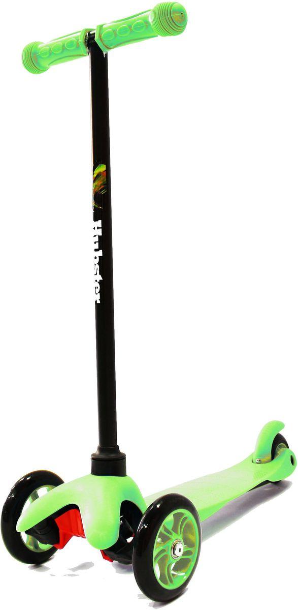 Самокат трехколесный Hubster Mini, цвет: зеленыйMHDR2G/AЯркий и веселый самокат создан для активных развлечений на свежем воздухе. Он очень полезен для развития детского организма, благодаря ему малыш становится более крепким, ловким и выносливым.Самокат очень прост в использовании, наклоняя рулевую стойку в ту или иную сторону, колеса автоматически поворачиваются в ту же сторону, поэтому ребенок освоит самокат достаточно быстро.Широкая платформа выполнена из легкого и прочного пластика, имеет рифленую антискользящую поверхность, благодаря чему ножка малыша не соскользнет во время катания, а грамотно продуманный размер позволит уместить одновременно две ноги.Колеса выполнены из высококачественного полиуретана с нейлоновым наполнителем.Быструю и бесшумную езду обеспечит высокоточный подшипник ABEC 7, который также без труда справится с любым бездорожьем.Алюминиевая ручка меняется по высоте в 3-х разных положениях, максимальная длина 64 см, благодаря этому самокат будет расти вместе с вашим малышом.Ребристые ручки с ограничителями по краям выполнены из прорезиненного материала.Высота руля от пола мин/макс: 64 см. Ширина руля: 25 см. Ширина деки: 11 см. Длина деки: 36 см. Размер колес: 120 мм. Максимальная нагрузка: 25 кг. Подшипники: ABEC7. Вес: 1,6 кг.