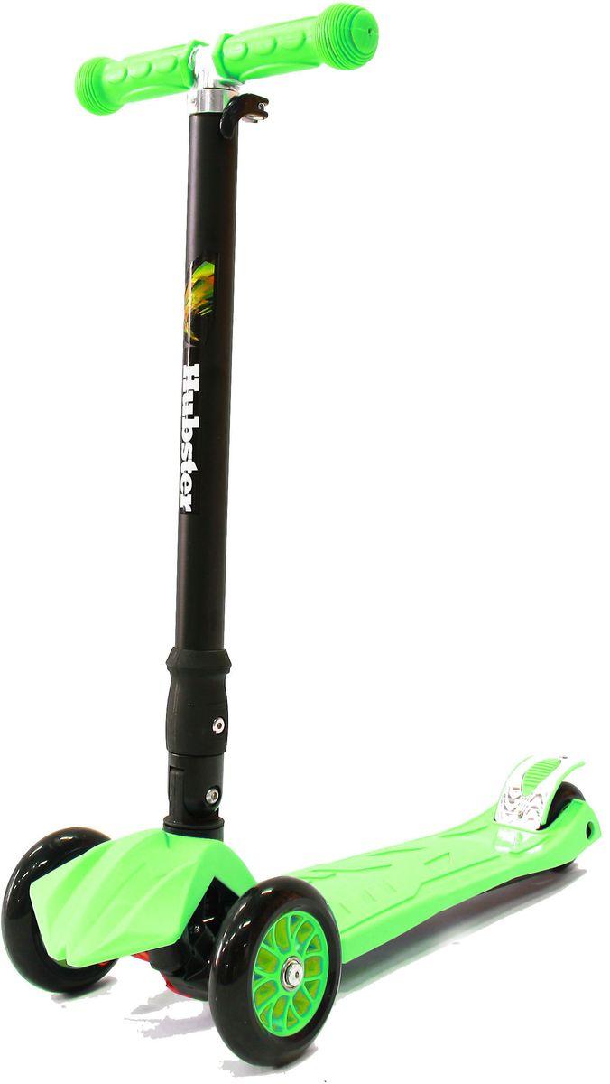 Самокат трехколесный Hubster Maxi Plus, цвет: зеленыйво2262Детский самокат Hubster Maxi Plus со светящимися колесиками имеет наклонный поворотный механизм руля, надежную систему сборки и разборки изделия, регулируемый по высоте руль и раму, изготовленную из суперлегкого алюминия.Подходит для мальчиков и девочек. Складная конструкция. Диаметр переднего колеса: 125 мм.Диаметр заднего колеса: 80 мм.Толщина: 24 мм. Максимальная нагрузка: 50 кг. Материал колес: полиуретан. Высота руля: 65-88 см. Вес: 2,5 кг.
