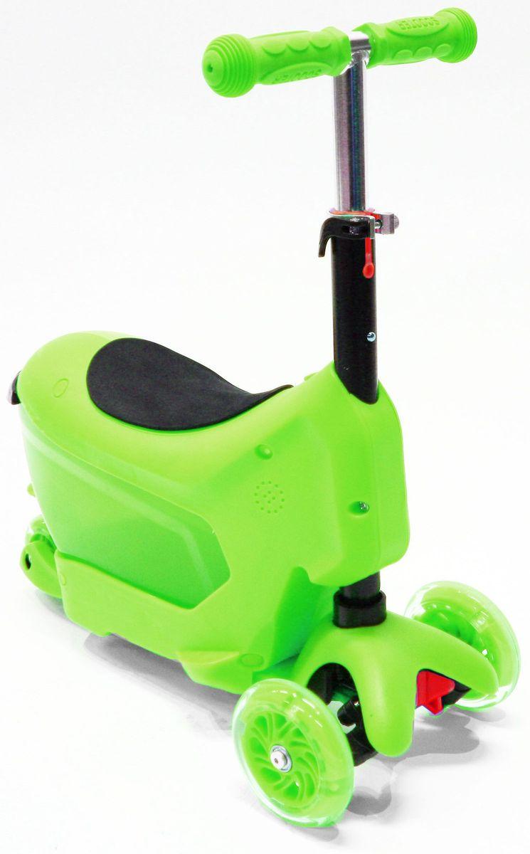 Самокат трехколесный Hubster Comfort, цвет: зеленыйво2277Самокат Hubster Comfort обязательно понравится вашему ребенку.Hubster Comfort - детский трехколесный самокат-каталка, подходит для самых маленьких детей. Это универсальный самокат-трансформер с сиденьем 3 в 1: каталка с багажником (корзинкой) для игрушек, каталка без багажника, самокат с регулируемым по высоте рулем.Максимальная нагрузка на самокат - до 50 кг.Вес: 2 кг.Упаковка: 59 x 26 x 20 см (0,03 м3).Возраст oт 2 до 5 лет. Максимальная нагрузка до 50 кг.Уникальное рулевое управление.Высота руля: 50-72 см.Низкая платформа для удобства отталкивания от земли, задний тормоз-крыло.Мягкие резиновые ручки с ограничителями на концах - при падении меньше вероятность получить травму руки.Большие и проходимые передние колеса - 120 мм, подшипники ABEC-5.Широкая и устойчивая платформа с противоскользящим покрытием, выполнена из шороховатого пластика, длина - 36 см, ширина 11 см.