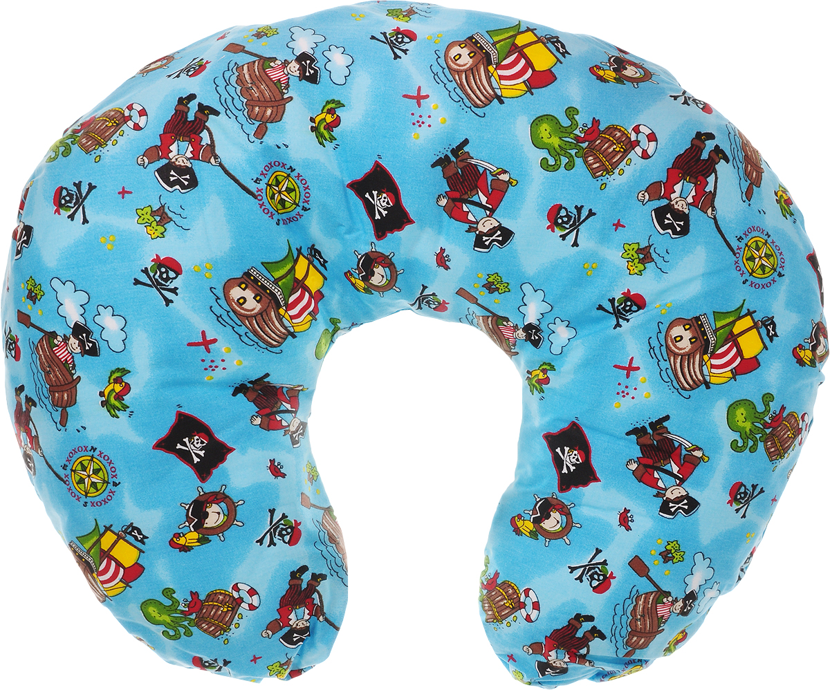 Selby Подушка для кормления Пираты 60 х 50 смС70х90 мятУниверсальная подушка Selby Пираты предназначена для детей с рождения, а также для женщин во время беременности и в период кормления ребенка грудью.Подушка поддерживает ребенка когда он лежит на животике, что очень полезно для развития мускулатуры спины и рук. Лежание на валике увеличивает обзор ребенку. Для женщин во время беременности обеспечивает комфортное положение во время сна и отдыха. Во время кормления грудью подушка дает возможность маме удобно держать ребенка на уровне груди.Подушка оформлена ярким рисунком с изображением забавных пиратов.Чехол подушки выполнен из 100% хлопка и снабжен застежкой-молнией, что позволяет без труда снять и постирать его. Наполнитель подушки: пенополистирол.