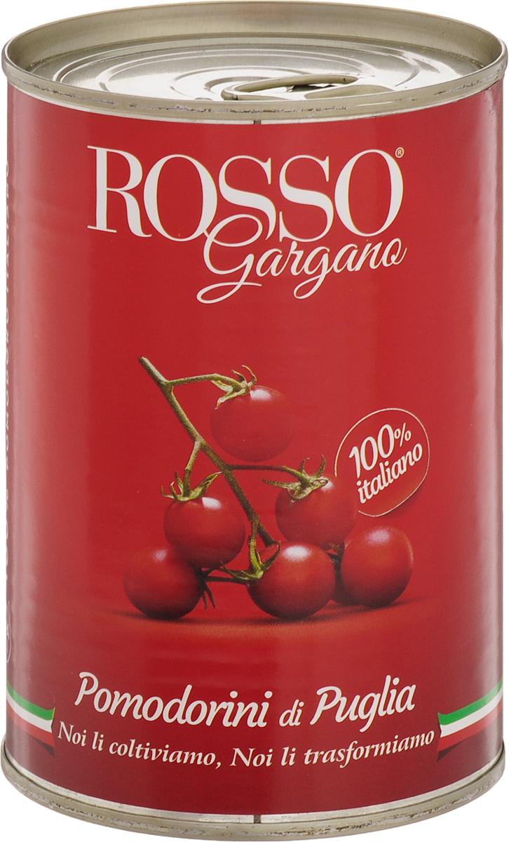 Rosso Gargano томаты черри, 400 г8033837720034Томаты сразу после сбора проходят специальную обработку для того, чтобы сохранить свою форму, свежесть, вкусовые качества и аромат. Томаты Rosso Gargano насыщенно-красного цвета, помещены в томатный сок, с приятным мягким вкусом.