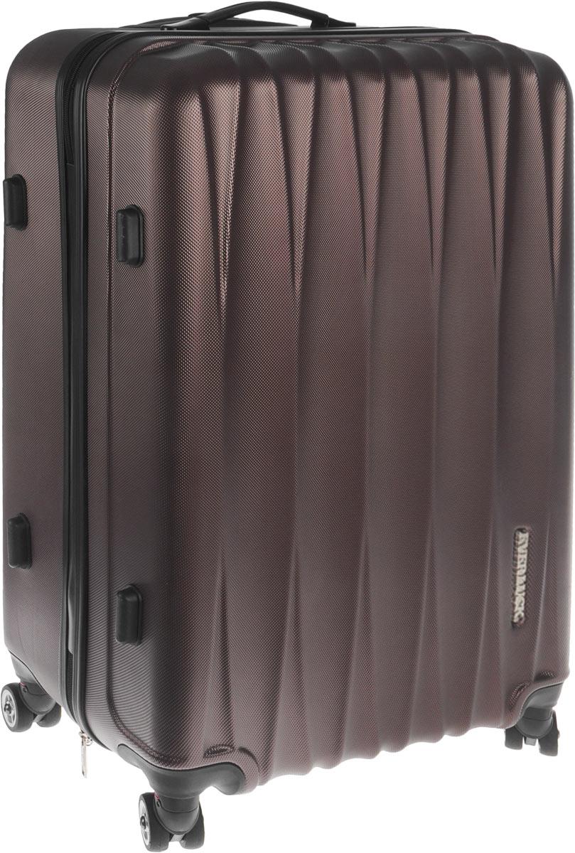 Чемодан пластиковый Everluck, цвет: темно-коричневый, 53 л332515-2800Чемодан Everluck, выполненный из прочного пластика, прекрасно подойдет для путешествий. Чемодан очень вместителен, он содержит продуманную внутреннюю организацию, которая позволяет удобно разложить вещи. Имеется одно большое отделение, закрывающееся по периметру на застежку-молнию с двумя бегунками. Отделение имеет эластичные багажные ремни, которые соединяются при помощи застежки-защелки. На крышке, с внутренней стороны, предусмотрен большой карман на застежке-молнии с сетчатым карманом на застежке-молнии. Также внутри имеется нашивной карман на застежке-молнии. Для удобной перевозки чемодан оснащен четырьмя маневренными колесами, которые обеспечивают легкость перемещения в любом направлении. Телескопическая ручка выдвигается нажатием на кнопку. Сверху и сбоку предусмотрены эргономичные ручки для поднятия чемодана и удобной переноски. С одной из боковых сторон изделие оснащено пластиковыми ножками, защищающими его от повреждений. Чемодан оснащен кодовым замком, который исключает возможность взлома.Чемодан вместит все необходимые вещи и станет незаменимым аксессуаром во время поездок. Размер чемодана: 41 x 26 х 61 см. Высота чемодана (с учетом колес и максимально выдвинутой ручки): 93 см. Высота выдвижной ручки: 30 см. Диаметр колеса: 4,5 см.Объем чемодана: 53 л.