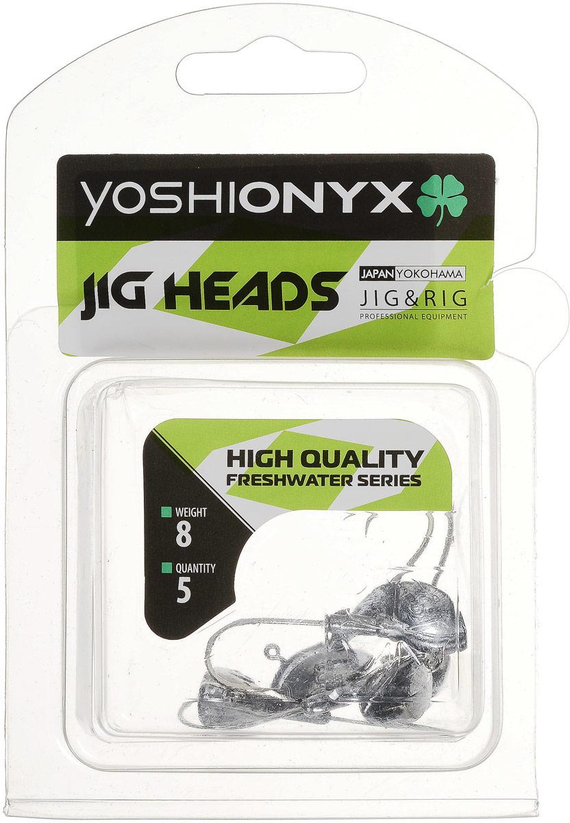 Джиг-головка Yoshi Onyx JIG Bros. Каблучок, крючок Gamakatsu, 8 г, 5 шт4271842Джиг-головки Yoshi Onyx JIG Bros. Каблучок используются для огрузки спиннинговых приманок. Специально предназначены для ловли щуки на мягкие приманки на небольшой глубине рядом с водной растительностью. Благодаря особой форме, увеличивается маневренность и управляемость. Джиг-головки оснащены крючком Gamakatsu.Несмотря на кажущуюся простоту этих грузил, от правильного подбора во многом зависит клев хищника. Выбирайте джиговую головку в зависимости от предполагаемого места ловли и используемой с ней приманки, возможной глубины, скорости течения, ветра и прочего.
