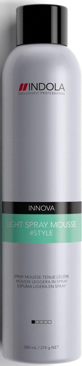 Indola Легкий Спрей-мусс Light Spray Mousse 300 млSatin Hair 7 BR730MNИндола Легкий Спрей-мусс. Уплотняет волосы, придает здоровый блеск, создает легкую фиксацию.