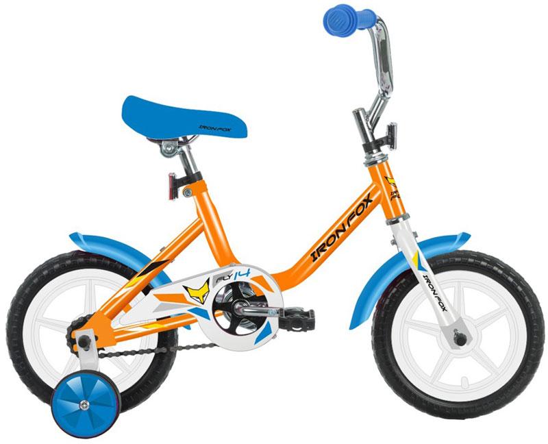 Велосипед детский Iron Fox Fly 14, цвет: оранжевыйRivaCase 7560 greyРама: сталь Вилка: жесткая, сталь Количество скоростей: 1 Размер колес: 14 Резина: полимерные 14*1,5 Обода: пластиковые Тормоза: втулочные, ножные Дополнительное оборудование: отражатели, дополнительные колеса, крылья (пластик)