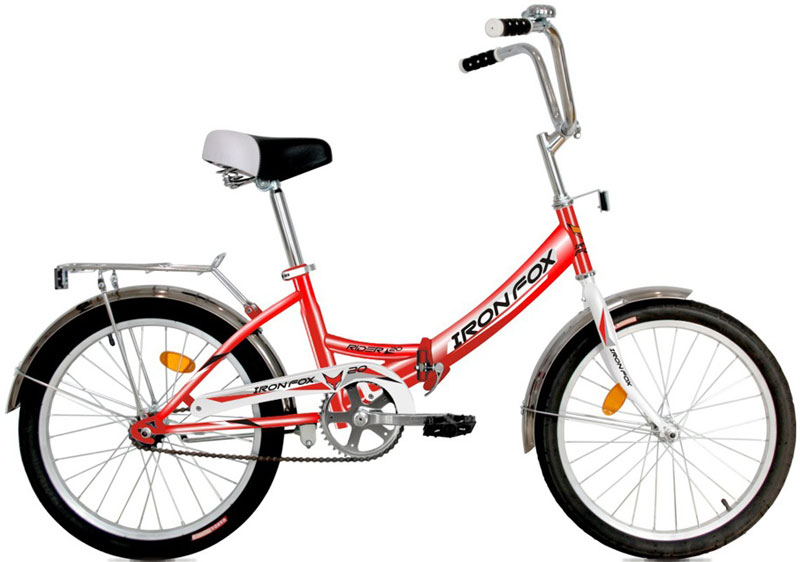 Велосипед детский Iron Fox Fox Rider 20, складной, цвет: красный3B327Рама: сталь, складная Вилка: жесткая, сталь Количество скоростей: 1 Размер колес: 20 Резина: Wanda P1033A 20*1,95 Передний переключатель: не