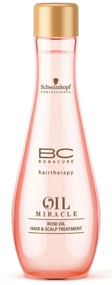 Bonacure Маска для кожи головы и волос (масло) Oil Miracle Rose Oil Hair & Scalp Treatment 100 млFS-00897Масло для кожи головы и волос с содержанием роскошных экстрактов дамасской и дикой розы, окутывает волосы и кожу головы легкой ароматной вуалью. Драгоценные свойства масла успокаивает и увлажняет кожу головы и волосы без утяжеления. Делает волосы мягкими и блестящими. Рекомендуется использовать в комплексе с шампуем BC Oil Miracle Rose Oil.