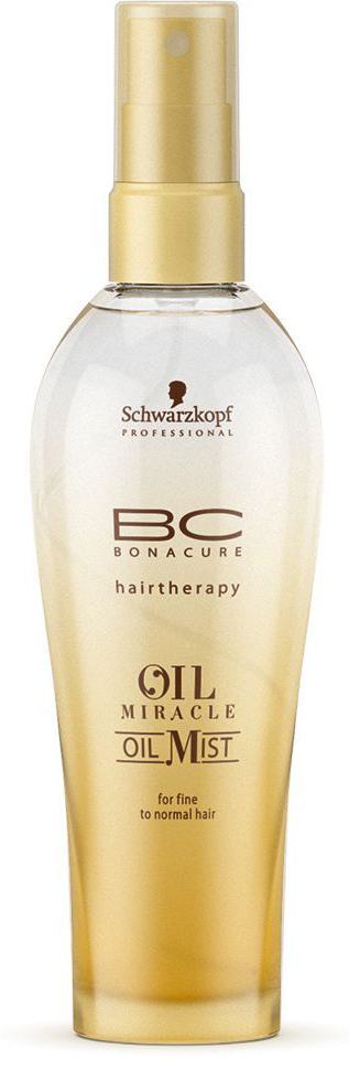 Bonacure Спрей-масло для тонких волос Oil Miracle Oil Mist fine hair 100 мл72523WDСпрей - масло для тонких волос. Насыщенная формула с драгоценным маслом марулы интенсивно питает волосы, состав быстро распределяется по полотну, обеспечивая гладкость и эластичность, а затем моментально испаряется; Рекомендуется использовать в комплексе с шампунем BC Oil Miracle light.