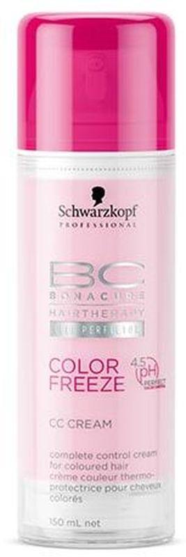 Bonacure Крем Комплексный Контроль Сияние Цвета Color Freeze CC Cream 150 млSH7210-SHIM103Многофункциональный крем Комплексный Контроль для окрашенных волос. Питает и защищает от воздействия электроинструментов окрашенные волосы, сохраняя естественную упругость и гладкость. Формула с Технологией Клеточного Усовершенствования и новым стабилизатором pH 4.5 обеспечивает волосам оптимальный уровень pH для идеальной блокировки цветовых пигментов. Рекомендуется использовать в комплексе с шампунем BC Color Freeze