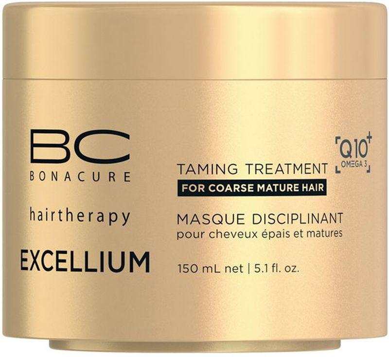 Bonacure Смягчающая маска Excellium Taming Treatment 150 млFS-00610Смягчающая маска BC Excellium восстанавливает, питает и смягчает зрелые волосы. Глубоко увлажняет и разглаживает грубые и жесткие волосы, делая их более послушными, наполняя жизненной силой и здоровым блеском
