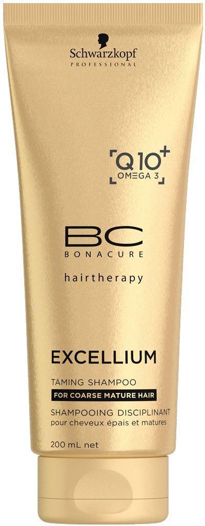 Bonacure Смягчающий шампунь Excellium Taming Shampoo 200 млFS-00897Смягчающий шамунь BC Excellium нежно очищает зрелые жесткие волосы и восстанавливает их жизненную силу. Эксклюзивная антивозрастная формула с Q10+ и Omega3 стимулирует выработку кератина, что сособствует омоложению волос, глубокому восстановлению внутренней структуры, смягчению и разгаживанию поверхности волос