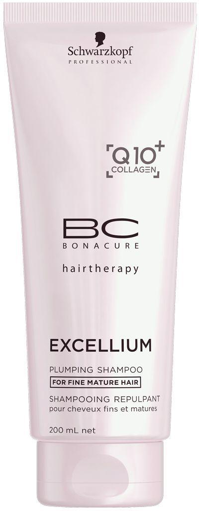 Bonacure Уплотняющий шампунь Excellium Plumping Shampoo 200 млFS-00897Уплотняющий шампунь BC Excellium бережно очищает тонкие зрелые волосы. Ухаживающие ингредиенты глубоко питают и укрепляют внутреннюю структуру и разглаживают внешнюю поверхность волос. Шампунь стимулирует выработку кератина и защищает цвет волос