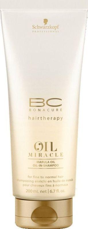 Bonacure Шампунь для тонких волос Oil Miracle light shampoo 200 млMP59.4DШампунь для тонких волос. Благодаря технологии микроэмульсии шампунь содержит в своем составе масла, но при этом очищает волосы не перегружая их. Невесомые частицы масла проникают в места разрыва структуры устраняя пористость. Обеспечивает мягкость и богатый насыщенный блеск. Рекомендуется использовать в комплексе с маслом BC Oil Miracle light treatment и; или спреем кондиционером BC Oil Miracle Liquid Oil и; или молочком для придания объема BC Oil Miracle Volume Amplifier и; или спреем маслом BC Oil Miraclre Oil Mist fine hair.