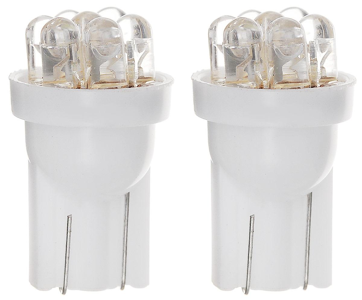 Автолампа светодиодная Skyway, тип T10(W5W), 2 шт10503Одноконтактная светодиодная автолампа без цоколя Skyway предназначена для сигнального или салонного освещения автомобиля. Срок эксплуатации LED-лампы в среднем 900 часов, что в 3 раза превышает аналогичный показатель обыкновенных ламп накаливания. Яркость, температура света и сила светового потока LED-ламп намного больше ламп накаливания. При лучшем световом потоке LED-лампа потребляет в 7 раз меньше мощности, тем самым снимает нагрузку на АКБ и генератор и выделяет меньше тепла, из-за которого мутнеют фары. Ударопрочность и устойчивость к вибрации позволяют LED-лампе работать в любых условиях. Лампа содержит 7 диодов, легко устанавливается.