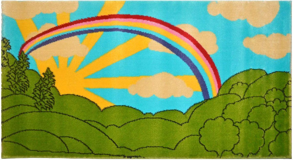 Ковер детский Kamalak Tekstil, цвет: зеленый, голубой, 80 х 150 см. УКД-2053ES-412Ковер Kamalak Tekstil изготовлен из полипропилена. Полипропилен износостоек, нетоксичен, не впитывает влагу, не провоцирует аллергию. Структура волокна в полипропиленовых коврах гладкая, поэтому грязь не будет въедаться и скапливаться на ворсе. Практичный и износоустойчивый ворс не истирается и не накапливает статическое электричество. Ковер обладает хорошими показателями теплостойкости и шумоизоляции. Оригинальный рисунок позволит гармонично оформить интерьер детской комнаты. За счет невысокого ворса ковер легко чистить. При надлежащем уходе синтетический ковер прослужит долго, не утратив ни яркости узора, ни блеска ворса, ни упругости. Самый простой способ избавить изделие от грязи - пропылесосить его с обеих сторон (лицевой и изнаночной). Влажная уборка с применением шампуней и моющих средств не противопоказана. Хранить рекомендуется в свернутом рулоном виде.