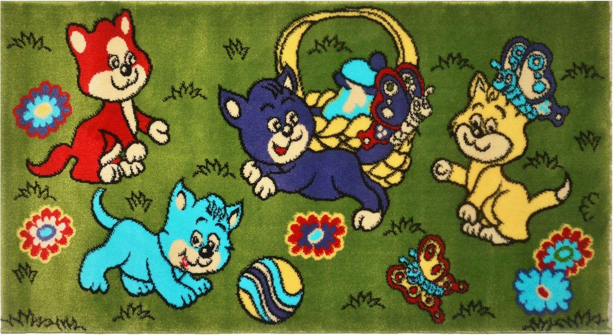 Ковер детский Kamalak Tekstil Котята, 60 х 110 смES-412Детский ковер Kamalak Tekstil изготовлен из высококачественного полипропилена.Полипропилен износостоек, нетоксичен, не впитывает влагу, не провоцирует аллергию. Структура волокна в полипропиленовых коврах гладкая, поэтому грязь не будет въедаться и скапливаться на ворсе. Практичный и износоустойчивый ворс не истирается и не накапливает статическое электричество. Ковер обладает хорошими показателями теплостойкости и шумоизоляции. Оригинальный рисунок позволит гармонично оформить интерьер детской комнаты. За счет невысокого ворса ковер легко чистить. При надлежащем уходе синтетический ковер прослужит долго, не утратив ни яркости узора, ни блеска ворса, ни упругости. Самый простой способ избавить изделие от грязи - пропылесосить его с обеих сторон (лицевой и изнаночной). Влажная уборка с применением шампуней и моющих средств не противопоказана. Хранить рекомендуется в свернутом рулоном виде.