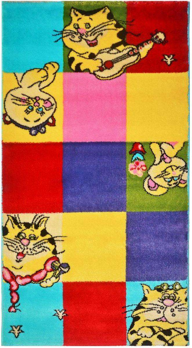 Ковер детский Kamalak Tekstil Кошки-мышки, 60 х 110 смES-412Детский ковер Kamalak Tekstil изготовлен из высококачественного полипропилена.Полипропилен износостоек, нетоксичен, не впитывает влагу, не провоцирует аллергию. Структура волокна в полипропиленовых коврах гладкая, поэтому грязь не будет въедаться и скапливаться на ворсе. Практичный и износоустойчивый ворс не истирается и не накапливает статическое электричество. Ковер обладает хорошими показателями теплостойкости и шумоизоляции. Оригинальный рисунок позволит гармонично оформить интерьер детской комнаты. За счет невысокого ворса ковер легко чистить. При надлежащем уходе синтетический ковер прослужит долго, не утратив ни яркости узора, ни блеска ворса, ни упругости. Самый простой способ избавить изделие от грязи - пропылесосить его с обеих сторон (лицевой и изнаночной). Влажная уборка с применением шампуней и моющих средств не противопоказана. Хранить рекомендуется в свернутом рулоном виде.