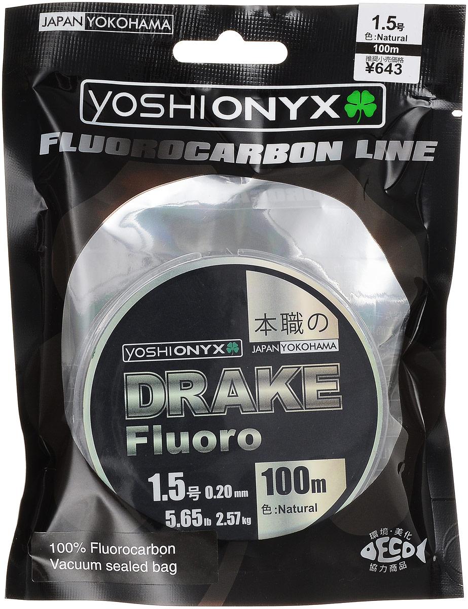 Леска Yoshi Onyx Drake Fluoro, цвет: прозрачный, 100 м, 0,20 мм, 2,57 кгMABLSEH10001Леска Yoshi Onyx Drake Fluoro - это полноценная флюорокарбоновая леска, предназначенная как для намотки на шпулю катушки, так и для монтажа разнообразных оснасток. Очень мягкая и скользкая флюорокарбоновая нить с невероятной легкостью проходит по кольцам удилища, что позволяет совершать исключительно дальние и точные забросы. Флюорокарбон обладает повышенной устойчивостью к истиранию, необычайно прочен, отличается малой растяжимостью, подходит для ловли крупной рыбы в сложных условиях. Идеален для использования на бейткастинговых (мультипликаторных) катушках в сочетании с крупными, упористыми приманками. Данная серия может применяться для ловли в самых сложных и суровых условиях, в местах с большим количеством коряжника, камней и ракушек. Drake Fluoro имеет превосходную чувствительность, что крайне необходимо при ловле аккуратно клюющей рыбы. Флюорокарбон фактически не видим в водной среде, а обладая большим, чем вода, удельным весом, легко тонет, создавая потрясающий контакт с приманкой.