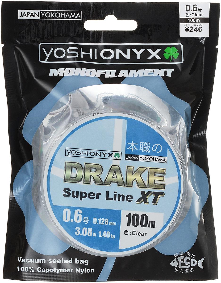 Леска Yoshi Onyx Drake Super Line XT, цвет: прозрачный, 100 м, 0,128 мм, 1,4 кг89466Леска Yoshi Onyx Drake Super Line XT выполнена из прозрачного монофила (нейлон), что делает ее универсальной. Скользкий и мягкий, этот материал невероятно прочен и отлично выдерживает разрывную нагрузку на большинстве узлов. Леска обладает непревзойденными водоотталкивающими свойствами и практически незаметна в воде, что делает ее незаменимой при ловле в условии низких температур. Данная леска обладает повышенной устойчивостью к истиранию, прочностью и превосходной чувствительностью.