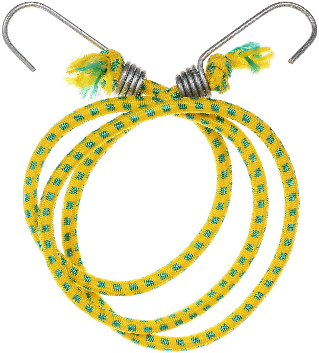 Резинка багажная МастерПроф, с крючками, цвет: желтый, зеленый, 0,6 х 110 см. АС.020052GL-442_темно-синий,синийБагажная резинка МастерПроф, выполненная из натурального каучука, оснащена специальными металлическими крюками, которые обеспечивают прочное крепление и не допускают смещения груза во время его перевозки. Изделие применяется для закрепления предметов к багажнику. Такая резинка позволит зафиксировать как небольшой груз, так и довольно габаритный.Температура использования: -50°C до +50°C.Безопасное удлинение: 125%.Толщина резинки: 6 мм.Длина резинки: 110 см.