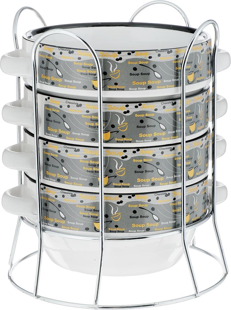Набор супниц Loraine, на подставке, 575 мл, 5 предметов. 2128554 009312Набор Loraine включает четыре супницы, выполненные из высококачественной глазурованной керамики. Внешние стенки декорированы рельефом под плетение. Набор прекрасно подходит для подачи супов, бульонов и других блюд. Элегантный дизайн отлично впишется в интерьер любой кухни.Супницы компактно размещаются на подставке из железа.Посуду можно использовать в микроволновой печи и холодильнике, а также мыть в посудомоечной машине.Объем супниц: 575 мл.Диаметр супниц по верхнему краю: 14,5 см.Высота супниц: 7 см.Размер подставки: 20 х 15,5 х 16 см.
