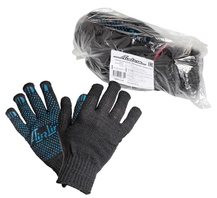 Перчатки Airline, с ПВХ покрытием, цвет: черный, 5 пар787502Перчатки Airline предназначены для защиты рук от механических повреждений при выполнении работ на производстве, в строительстве и в быту. Точечное покрытие ладони перчаток из поливинилхлорида обеспечивает хорошее сцепление с инструментами и поверхностями, предотвращает проскальзывание рук во время работы. Преимущества:Защита рук от повреждения и загрязнений.Хорошее сцепление благодаря ПВХ покрытию.Не маркие.140Т/7,5 класс.