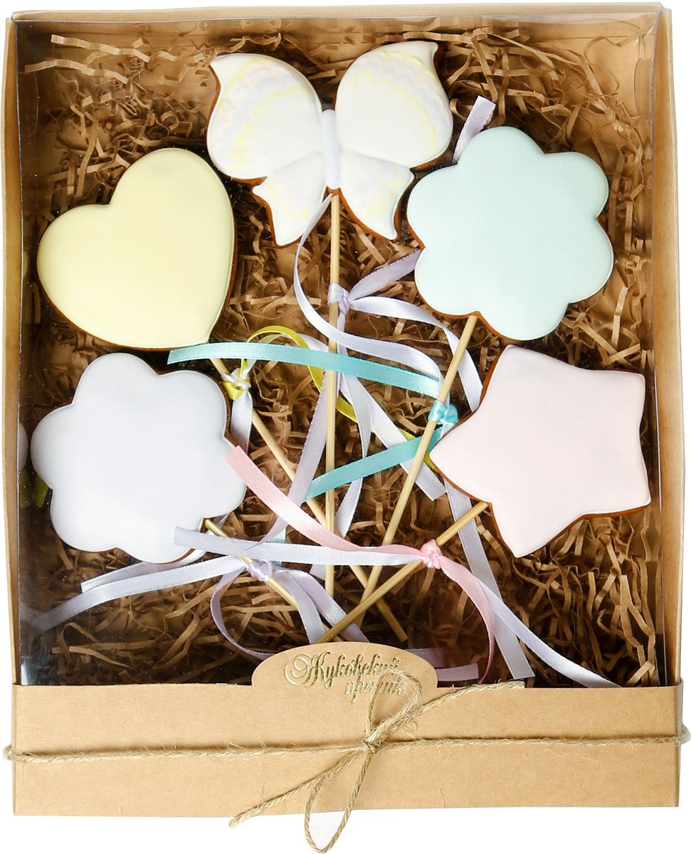 Жуковский пряник Подарочный набор Баттерфляй, 5 шт0120710Медово-имбирный пряник с росписью из айсинга, фотопечатью на сахарной бумаге. Отличный подарок для любимых. Без ГМО.
