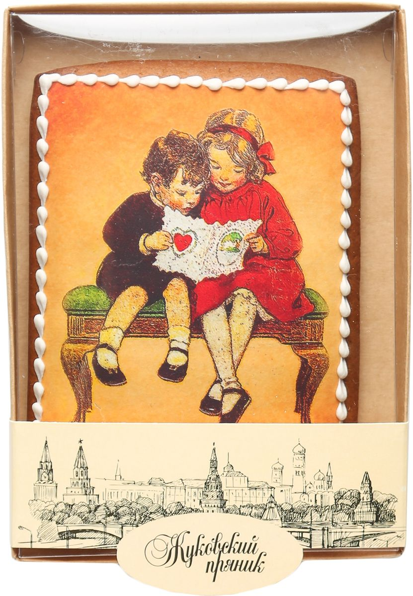 Жуковский пряник Подарочный набор Первая любовь0120710Медово-имбирный пряник с росписью из айсинга, фотопечатью на сахарной бумаге. Отличный подарок для любимых. Без ГМО.