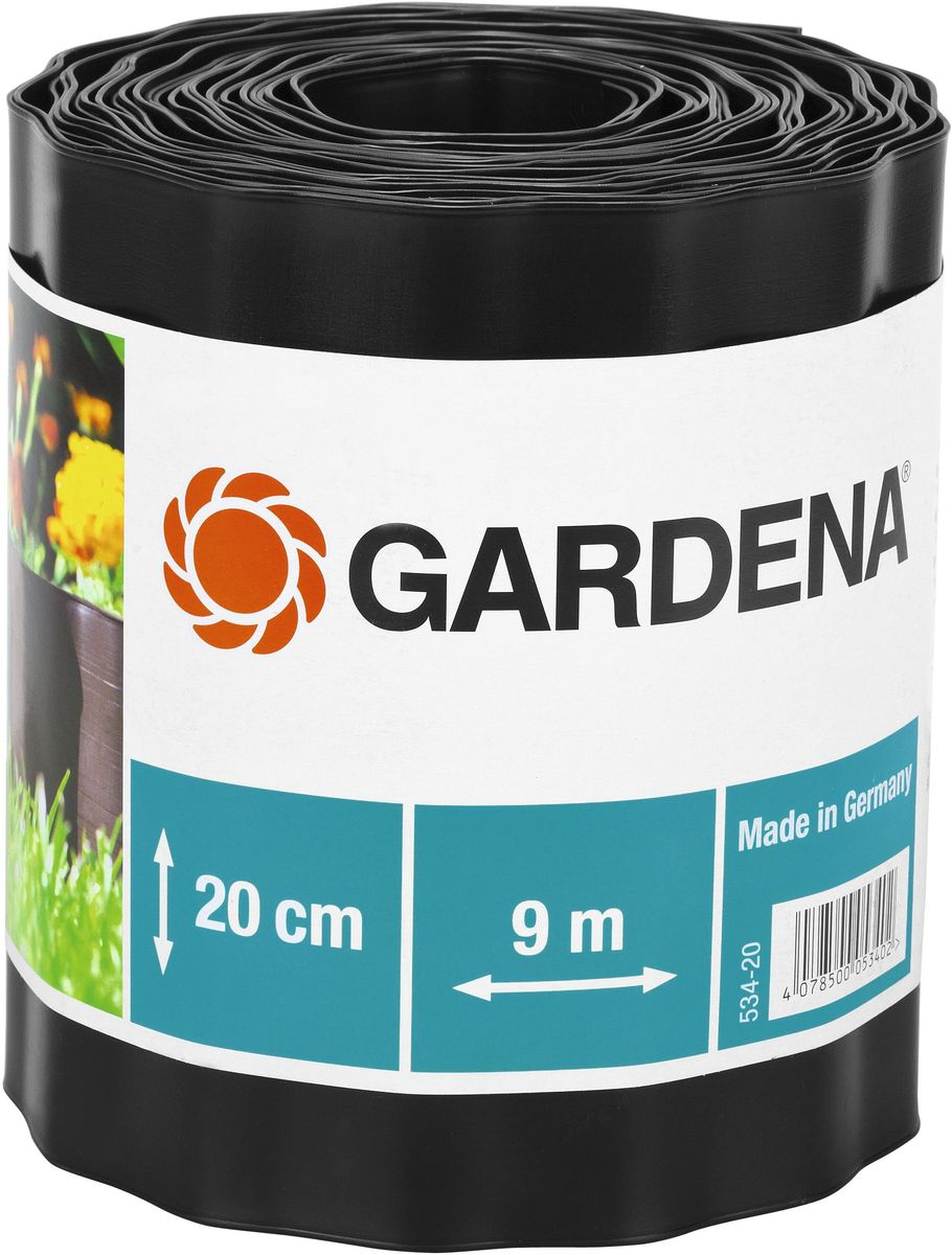 Бордюр декоративный Gardena, цвет: черный, ширина 20 см, длина 9 м531-402Декоративный бордюр Gardena, выполненный из высококачественного пластика, обеспечивает чистоту краев газона. Изделие позволяет добиться порядка на участке, предотвращая распространение корней и чрезмерный рост растительности, отделяя при этом газон от грядок. В рулоне 9 м бордюра высотой 20 см.