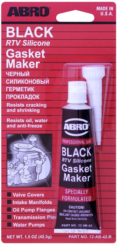 Герметик прокладок Abro, цвет: черный, 42,5 г2706 (ПО)Многоцелевые герметики прокладок Blue, Red, Clear, Black предназначены для ремонта или замены почти всех встречающихся в автомобиле прокладок.Герметик ABRO принимает любую форму и успешно выдерживает сжатие, растяжение и сдвиг; совершенно не разрушается под действием автомобильных масел, воды и антифриза. Также герметик ABRO обладает высокой стойкостью к бензину и тормозной жидкости. Более мягкий герметик прокладок Blue (синий), также как Clear и Black (прозрачный, черный), предназначен для применения при температурах до 260°С, в то время как герметик прокладок Red (красного цвета) разработан для более высоких температур до 343°С.