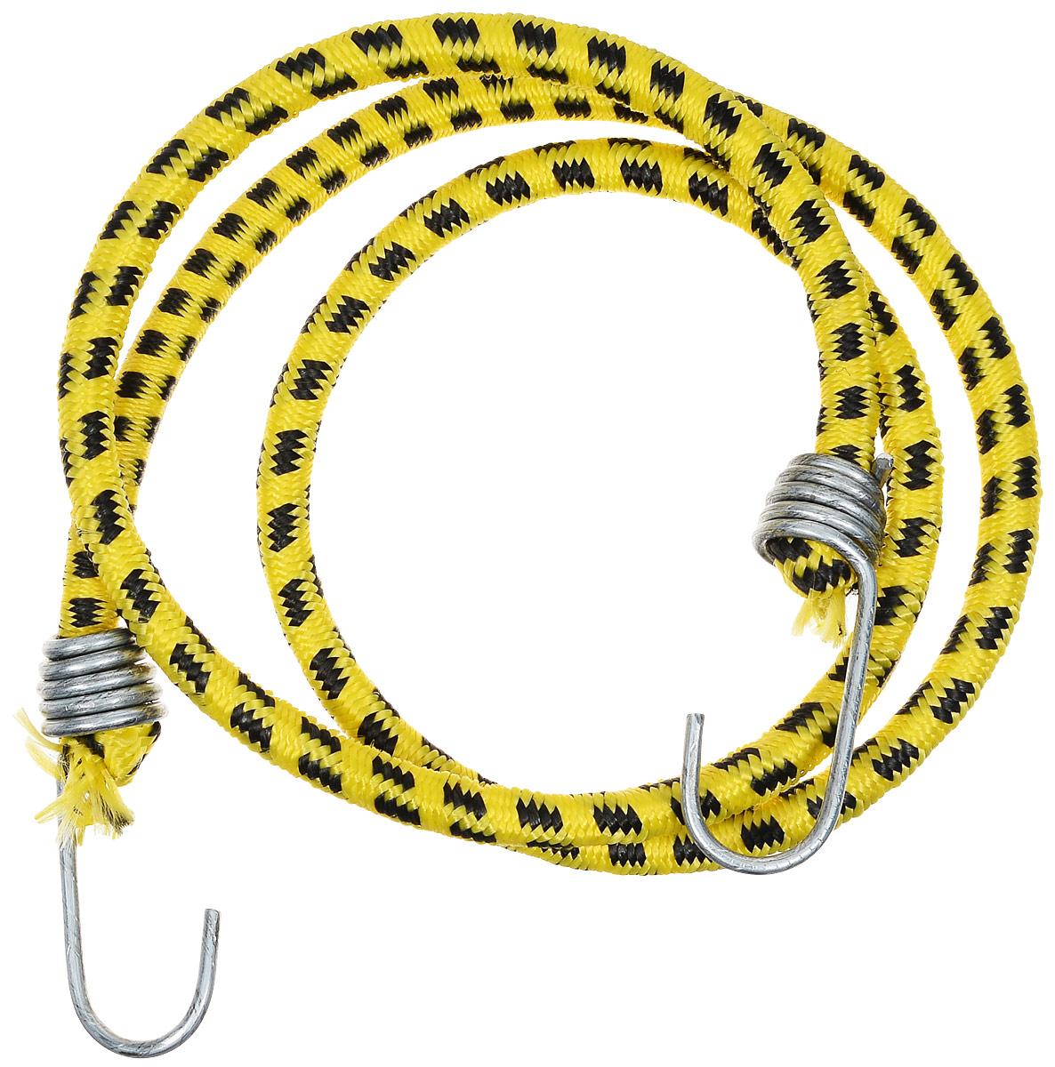 Резинка багажная МастерПроф, с крючками, цвет: желтый, черный, 1 х 110 см. АС.020023VCA-00Багажная резинка МастерПроф, выполненная из синтетического каучука, оснащена специальными металлическими крюками, которые обеспечивают прочное крепление и не допускают смещение груза во время его перевозки. Резинка применяется для закрепления предметов к багажнику. Она позволит зафиксировать как небольшой груз, так и довольно габаритный.Материал: синтетический каучук. Температура использования: -15°C до +50°C.Безопасное удлинение: 60%.Диаметр резинки: 10 мм.Длина резинки: 110 см.