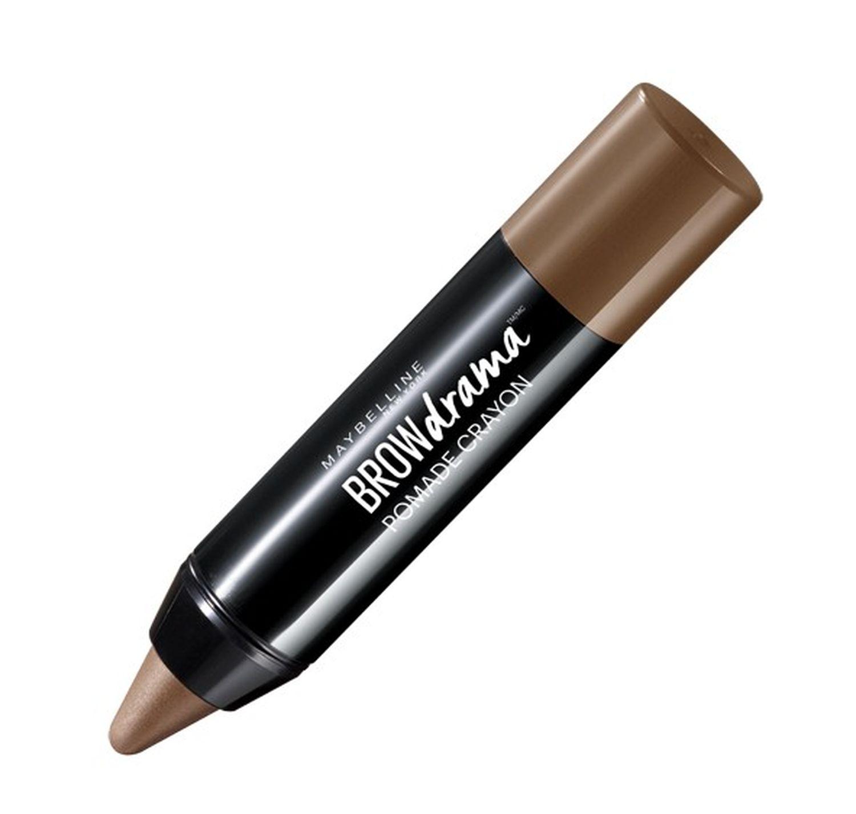 Maybelline New York Восковый карандаш-стик для бровей Brow Drama, Pomade, восковый карандаш-стик, оттенок 02, Коричневый, 1,1г50107771396551-ый кремовый карандаш-стик для бровей в трех оттенках.